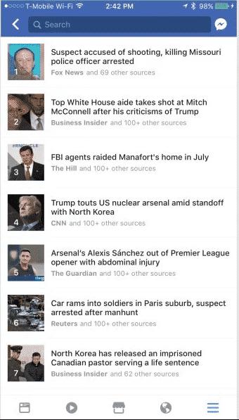 Trending News Feature in Facebook App